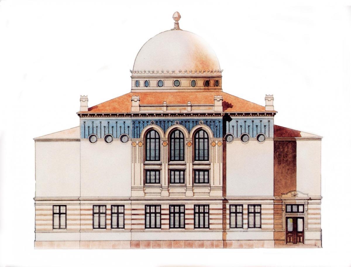Jac. Ahrenbergin luonnos Helsingin synagogasta v. 1905.